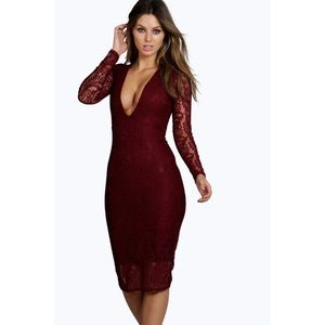 NWT Boohoo Lace Deep Plunge Bodycon Midi Dress